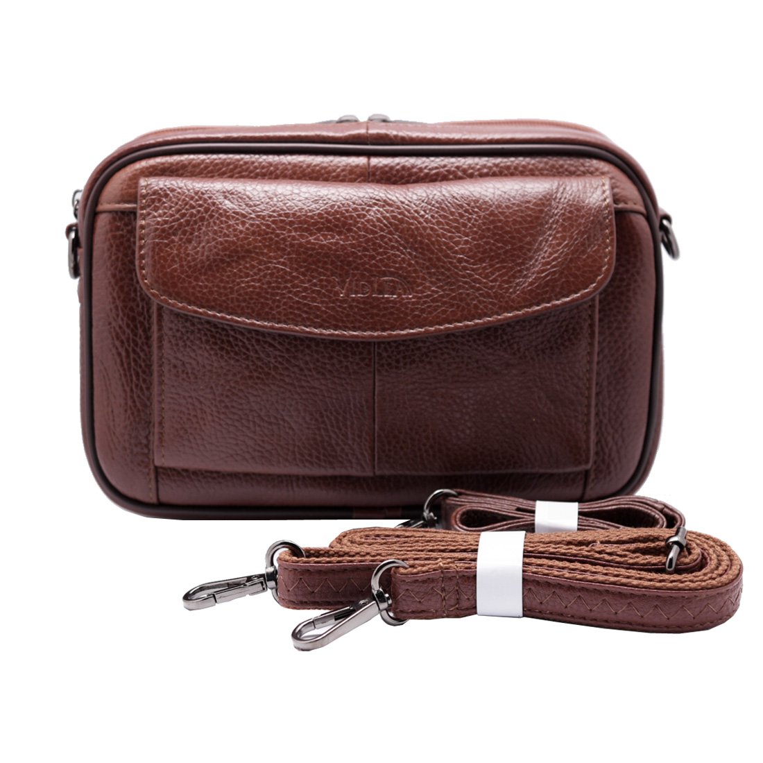 Mens messenger bag Tan Brown Cowhide leather Handbag - VIDLEA