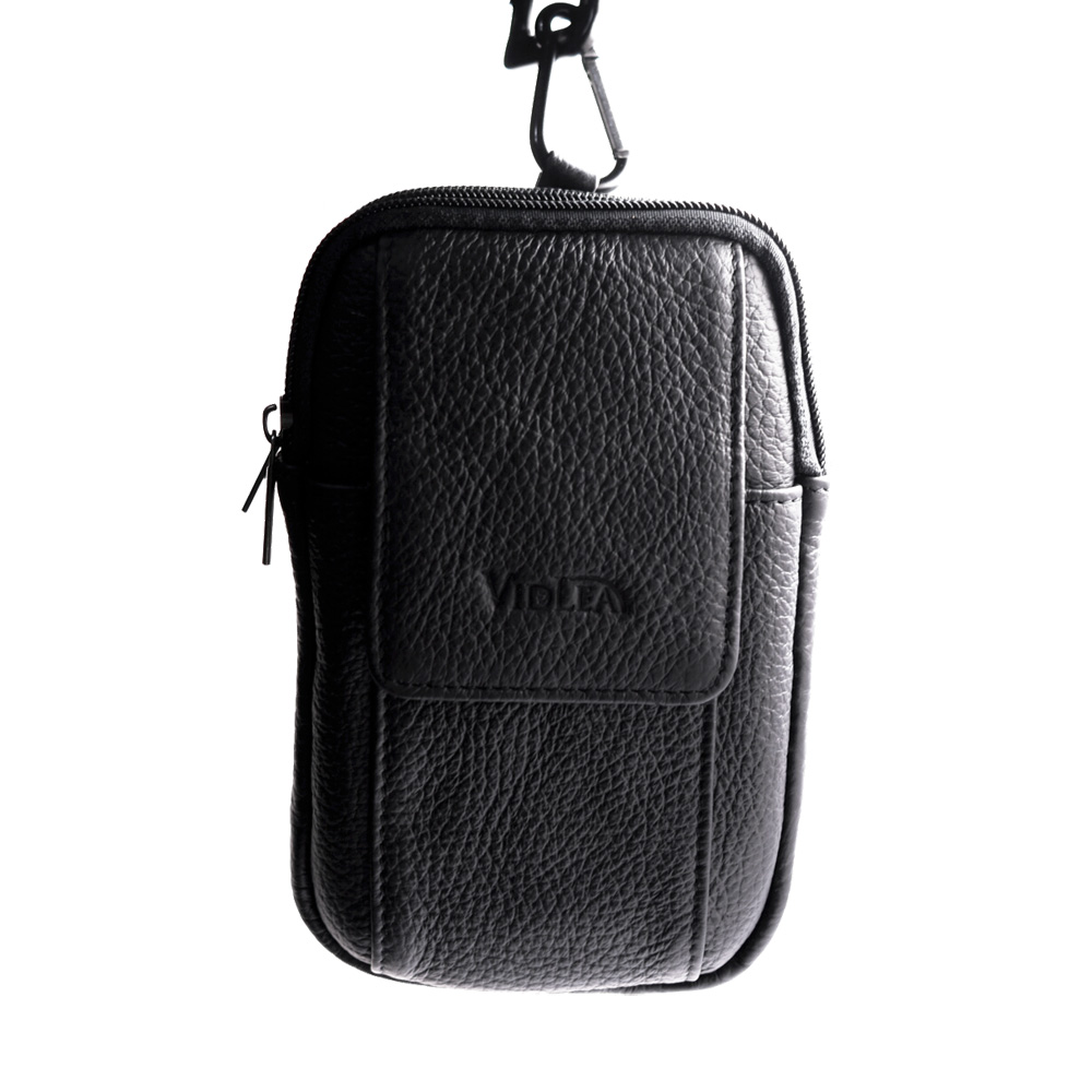 9168a630dcc4 Mini Messenger Bag Black Leather Cellphone Wallet Case Carabiner