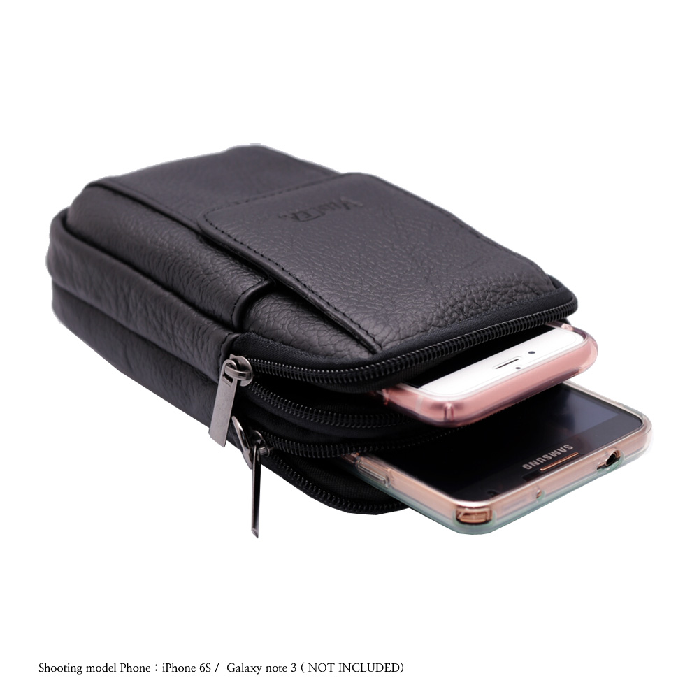 Mini Messenger Bag Black Leather Cellphone Wallet Case