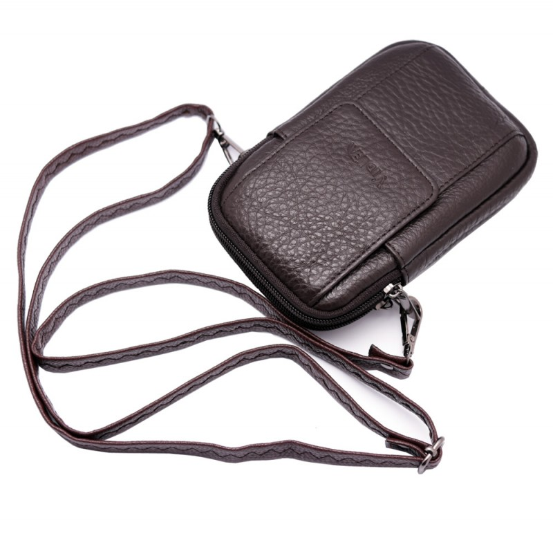 mini messenger bag  travel brown leather bags Phone holder fanny waist pack