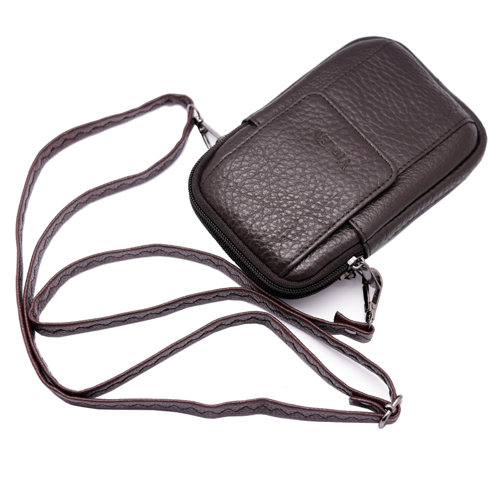 405165b3296d Mini Messenger Bag Brown Leather Cellphone Wallet Case Carabiner