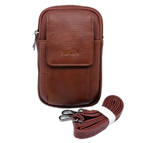 mini messenger bag travel Tan brown leather bags Phone holder fanny waist pack