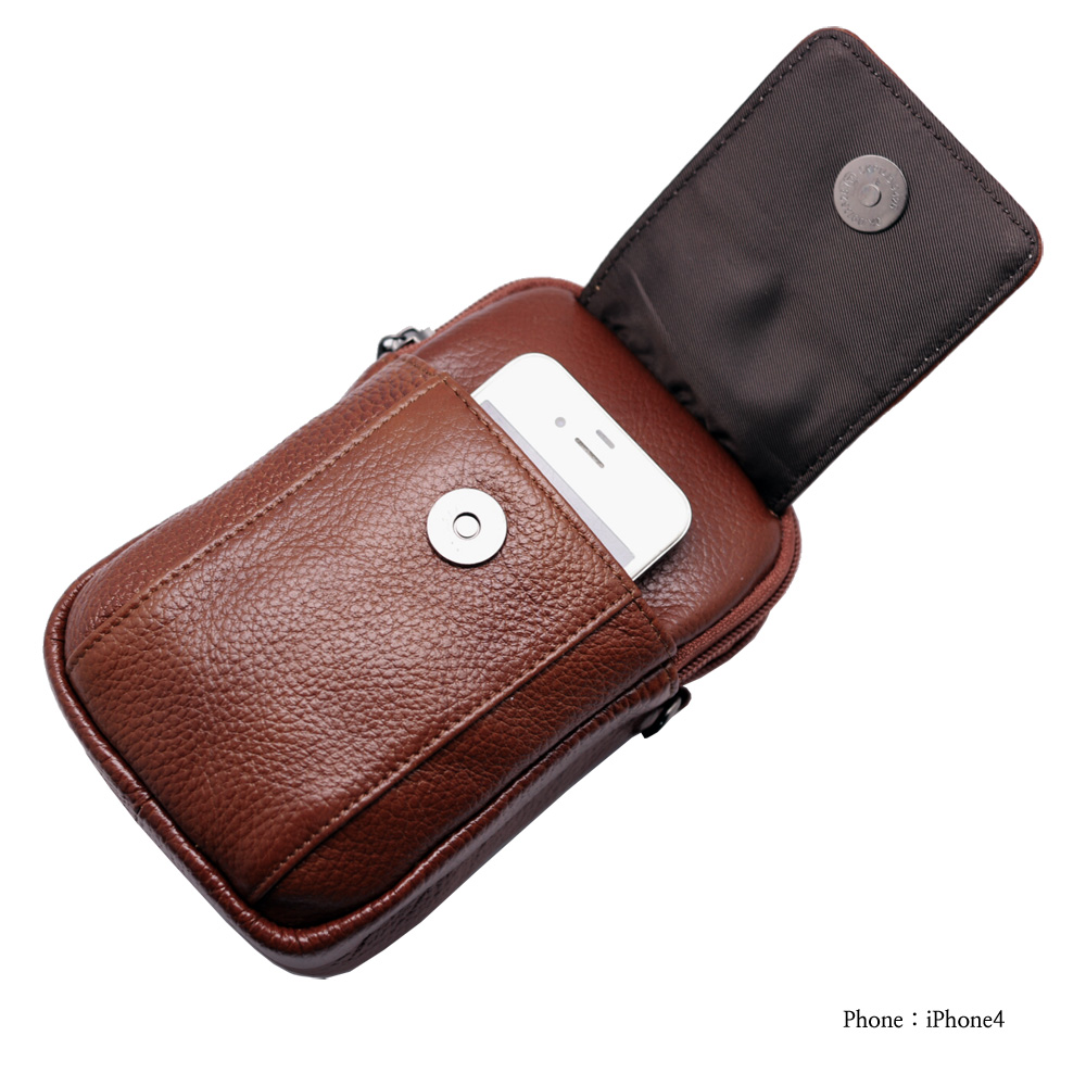 super cute 1dcaa e081a Mini Messenger Bag Tan Brown Leather Cellphone Wallet Case Carabiner