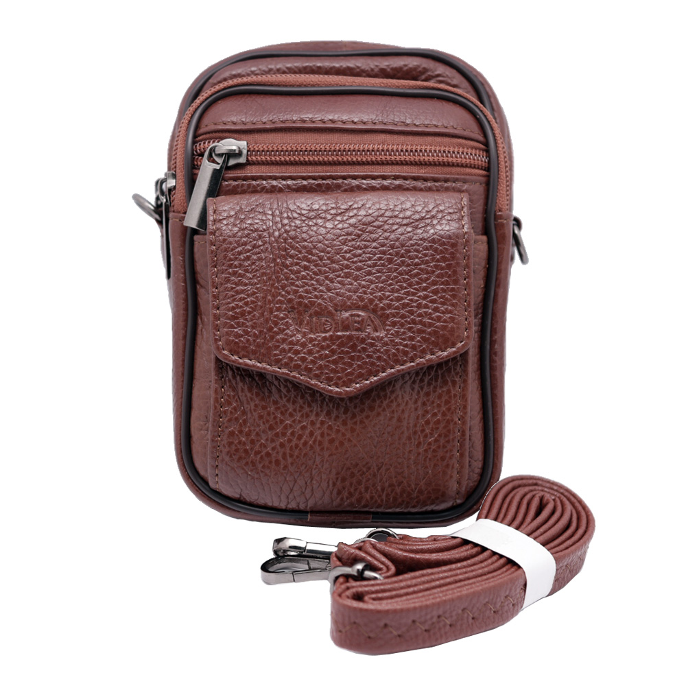 Mini Leather Messenger Bag Tan Brown Phone Case With Belt Hole