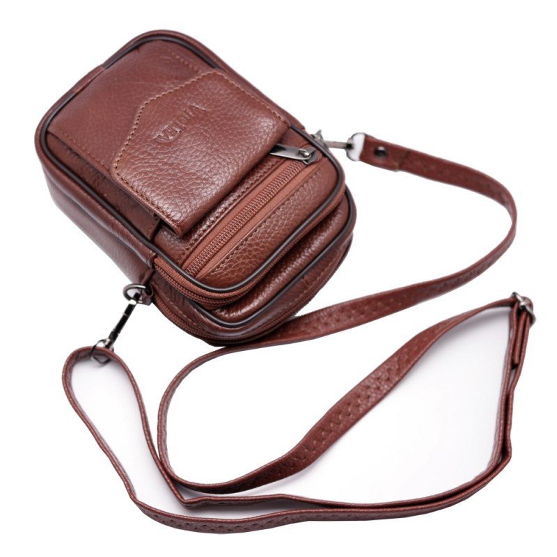 Mini Leather Messenger Bag, Cell Phone Case Wallet Zip Closure Purse ...