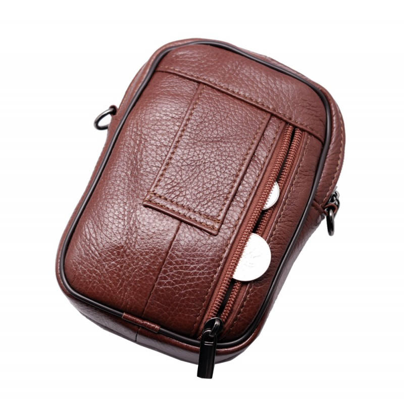 mini leathre messenger bag travel Tan Brown leather bags Phone holder fanny waist pack
