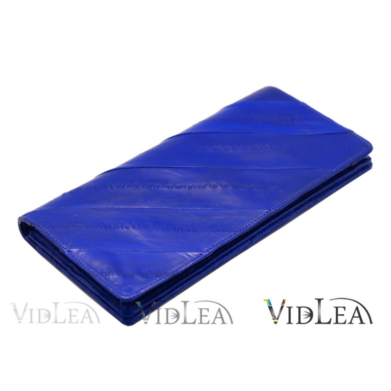 eel skin wallet Blue wallet slim long wallet eel skin purse card holder