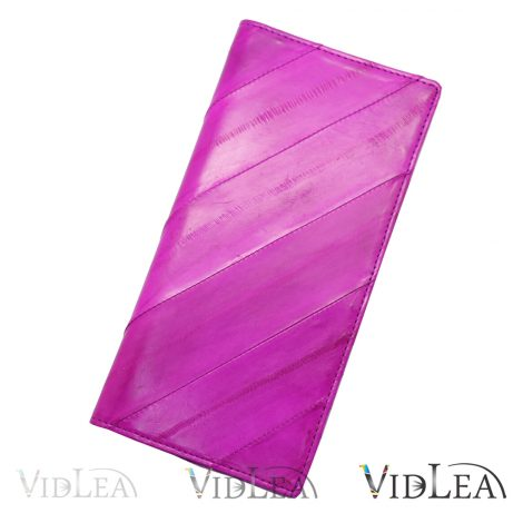 eel skin wallet Magenta purse Violet slim long wallet eel skin purse