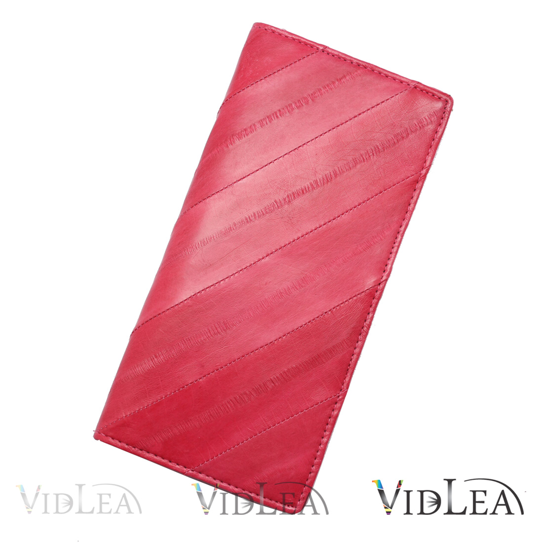 eel skin pink wallet diagonal long slim fold coin purse credit card holder - Pink Card Holder